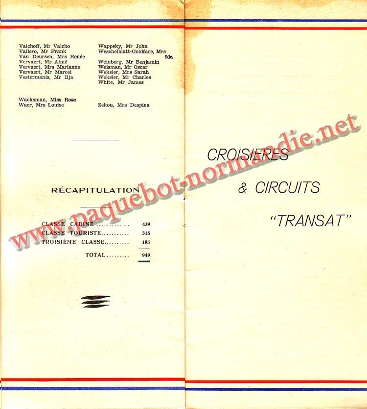 LISTE PASSAGERS DU 14 AVRIL 1937 - 3ème CLASSE / 3-5