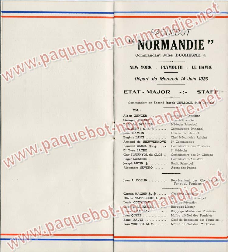 S.S NORMANDIE - LISTE PASSAGERS DU 14 JUIN 1939 - 3ème CLASSE / 3-3