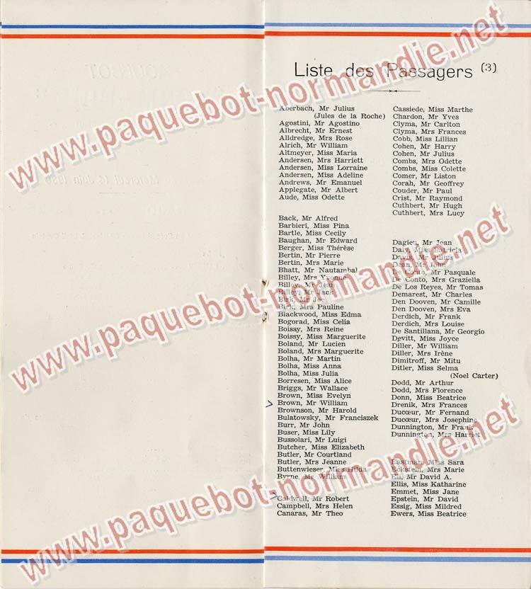 S.S NORMANDIE - LISTE PASSAGERS DU 14 JUIN 1939 - 3ème CLASSE / 3-4