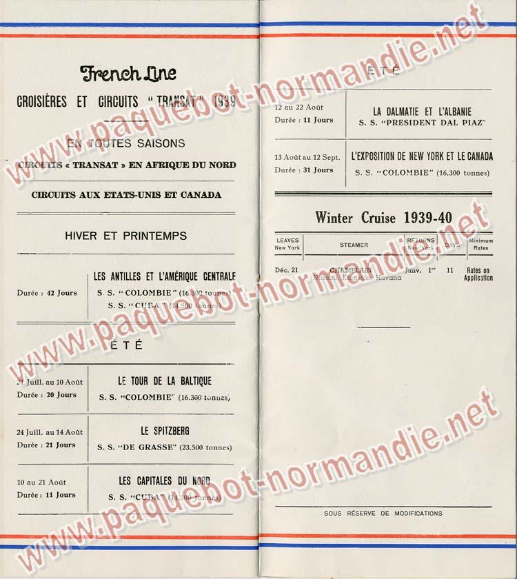 S.S NORMANDIE - LISTE PASSAGERS DU 14 JUIN 1939 - 3ème CLASSE / 3-8