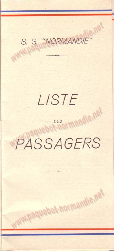 Paquebot s/s Normandie - LISTE PASSAGERS 14.07.37 / 2-1