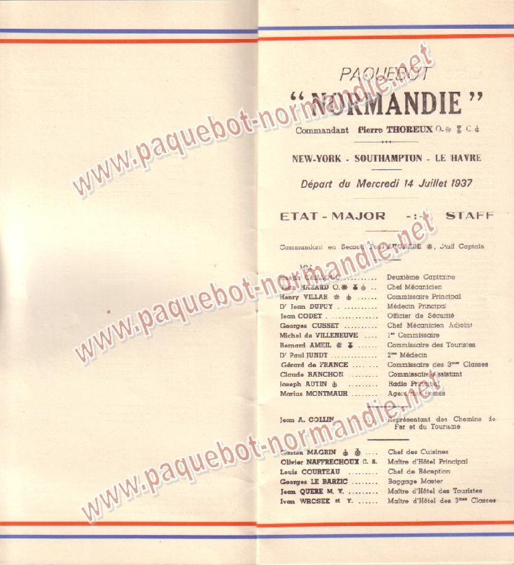Paquebot s/s Normandie - LISTE PASSAGERS 14.07.37 / 2-3