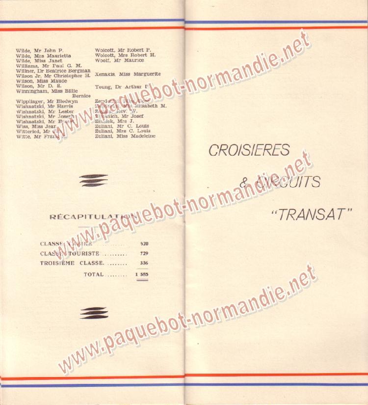 Paquebot s/s Normandie - LISTE PASSAGERS 14.07.37 / 2-7