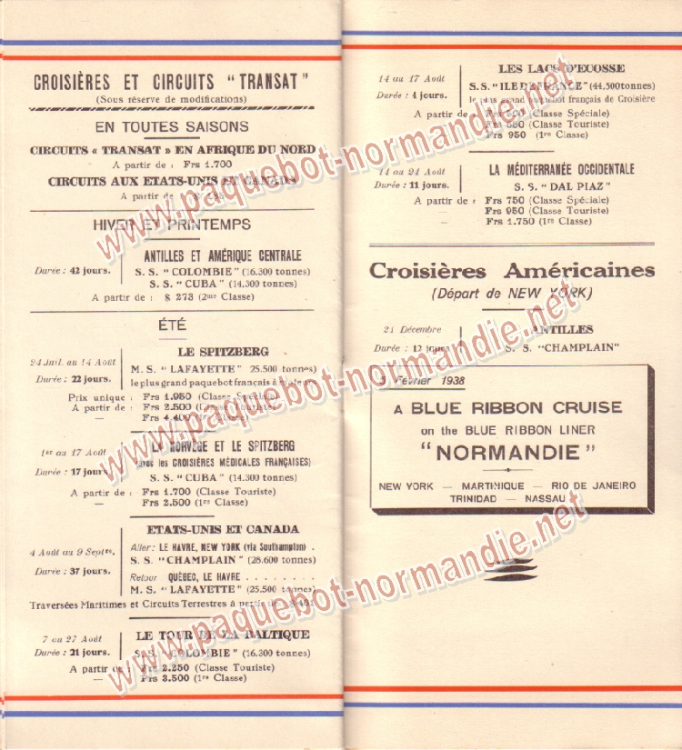 Paquebot s/s Normandie - LISTE PASSAGERS 14.07.37 / 2-8