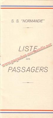 PAQUEBOT NORMANDIE - LISTE DES PASSAGERS DU 14 JUILET 1937 - 3ème CLASSE pour étude