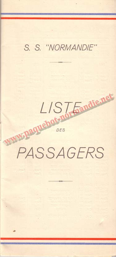 PAQUEBOT NORMANDIE - LISTE DES PASSAGERS DU 15 JUIN 1938 - 1ère CLASSE / 1-1