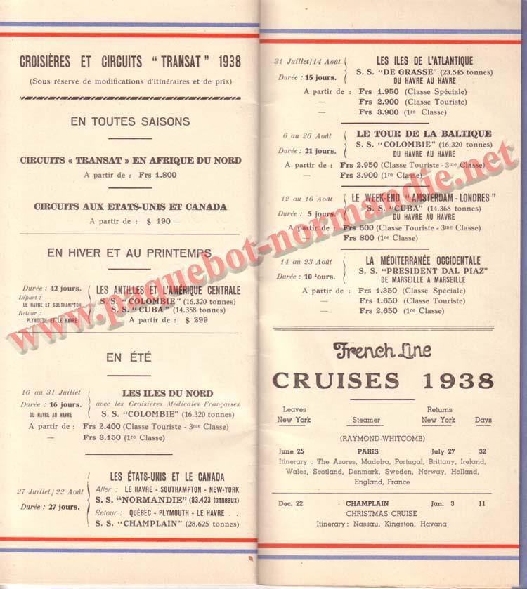 PAQUEBOT NORMANDIE - LISTE DES PASSAGERS DU 15 JUIN 1938 - 1ère CLASSE / 1-10