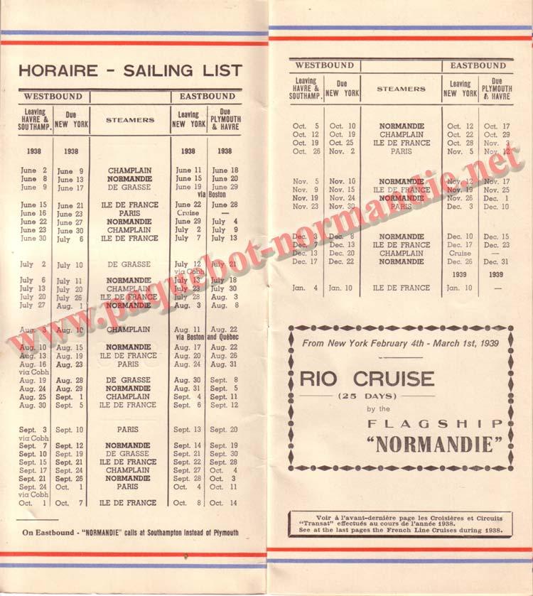 PAQUEBOT NORMANDIE - LISTE DES PASSAGERS DU 15 JUIN 1938 - 1ère CLASSE / 1-2