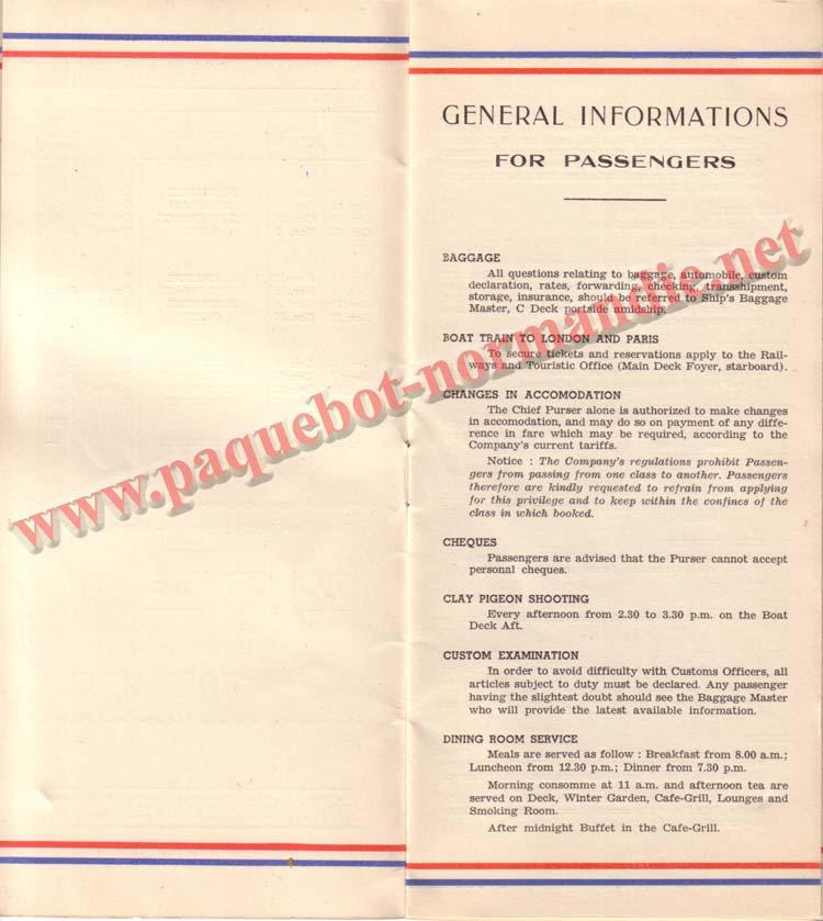 PAQUEBOT NORMANDIE - LISTE DES PASSAGERS DU 15 JUIN 1938 - 1ère CLASSE / 1-3