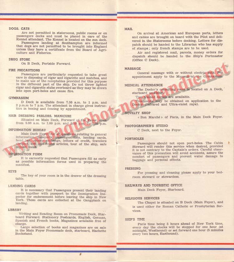 PAQUEBOT NORMANDIE - LISTE DES PASSAGERS DU 15 JUIN 1938 - 1ère CLASSE / 1-4