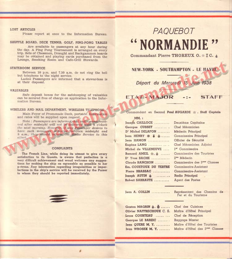 PAQUEBOT NORMANDIE - LISTE DES PASSAGERS DU 15 JUIN 1938 - 1ère CLASSE / 1-5