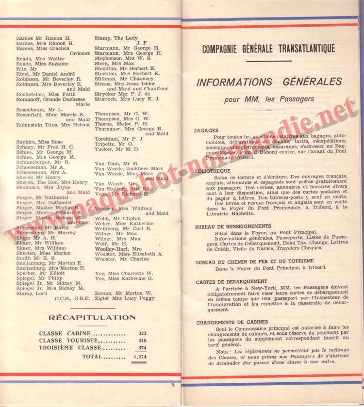 PAQUEBOT NORMANDIE - LISTE DES PASSAGERS DU 15 JUIN 1938 - 1ère CLASSE / 1-7