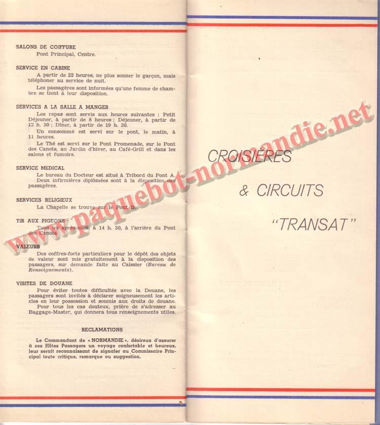 PAQUEBOT NORMANDIE - LISTE DES PASSAGERS DU 15 JUIN 1938 - 1ère CLASSE / 1-9