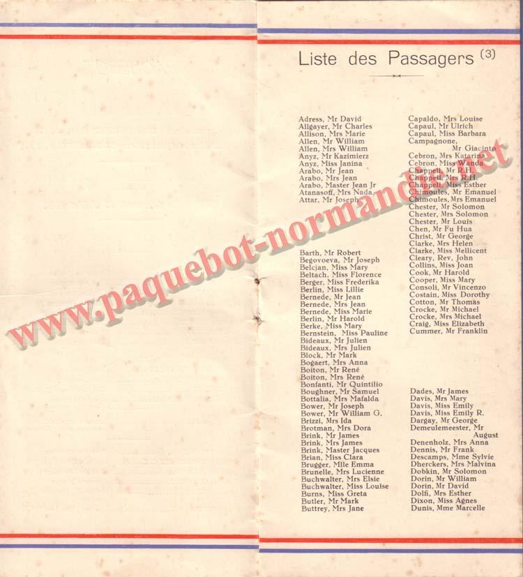 LISTE PASSAGERS DU 15 JUILLET 1936 / 3-2