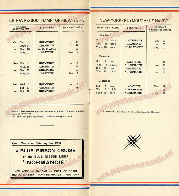 PAQUEBOT NORMANDIE - LISTE DES PASSAGERS DU 15 OCTOBRE 1937 - 2ème CLASSE / 2-2