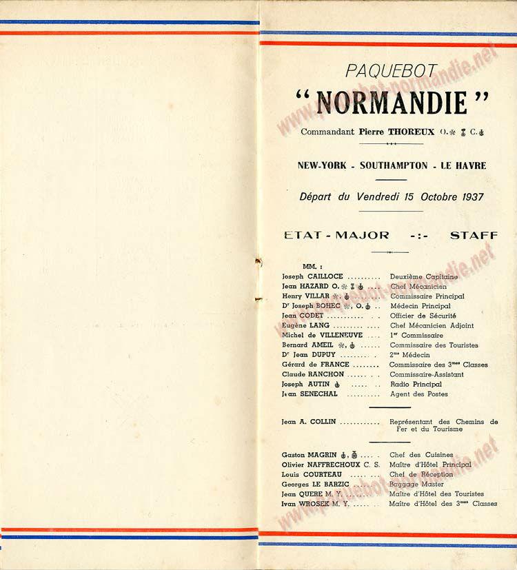 PAQUEBOT NORMANDIE - LISTE DES PASSAGERS DU 15 OCTOBRE 1937 - 2ème CLASSE / 2-3