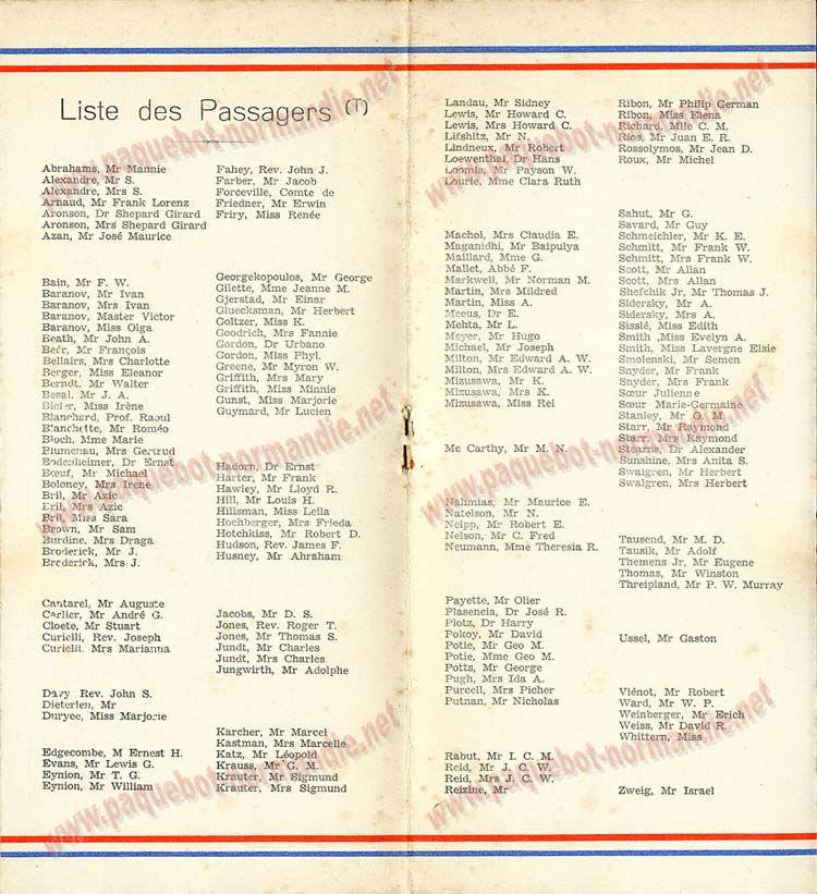 PAQUEBOT NORMANDIE - LISTE DES PASSAGERS DU 15 OCTOBRE 1937 - 2ème CLASSE / 2-4