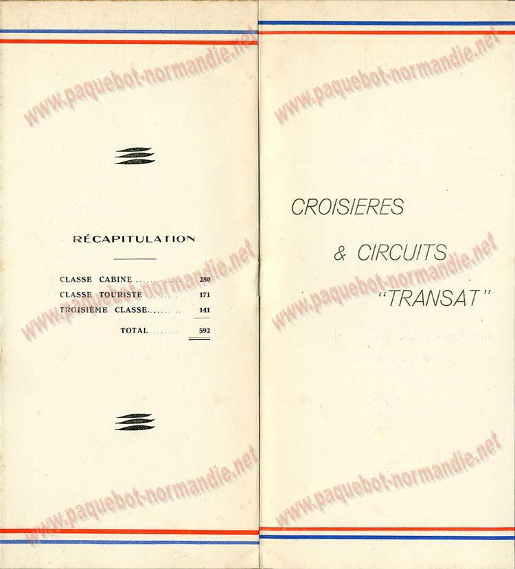 PAQUEBOT NORMANDIE - LISTE DES PASSAGERS DU 15 OCTOBRE 1937 - 2ème CLASSE / 2-5