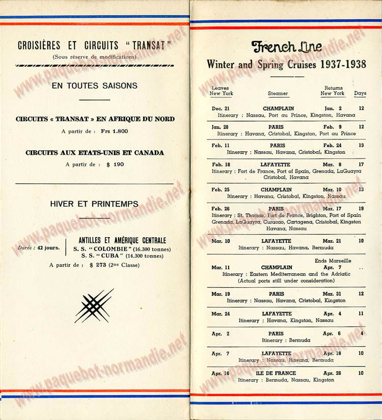 PAQUEBOT NORMANDIE - LISTE DES PASSAGERS DU 15 OCTOBRE 1937 - 2ème CLASSE / 2-6