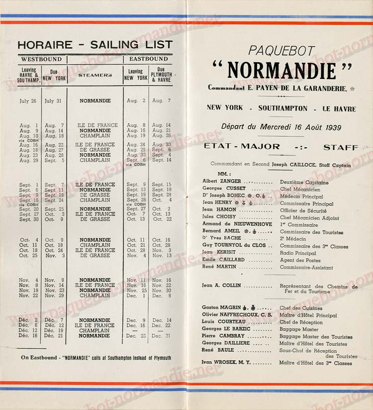 Paquebot s/s Normandie - LISTE PASSAGERS 16.08.39 / 2-3