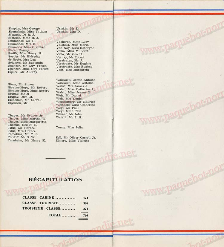 Paquebot s/s Normandie - LISTE PASSAGERS 16.08.39 / 2-6