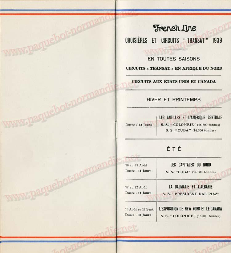 Paquebot s/s Normandie - LISTE PASSAGERS 16.08.39 / 2-7