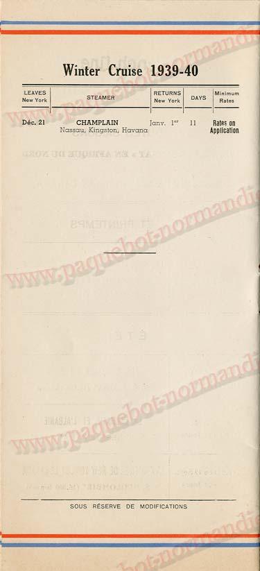 Paquebot s/s Normandie - LISTE PASSAGERS 16.08.39 / 2-8
