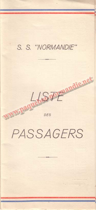 PAQUEBOT NORMANDIE - LISTE DES PASSAGERS DU 17 MAI 1939 - 2ème CLASSE / 2-1