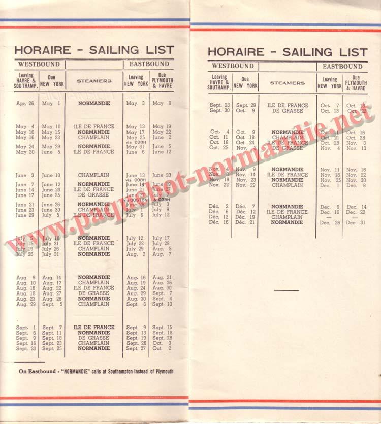 PAQUEBOT NORMANDIE - LISTE DES PASSAGERS DU 17 MAI 1939 - 2ème CLASSE / 2-2