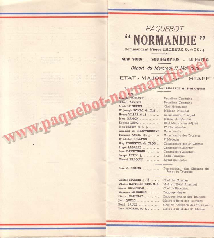PAQUEBOT NORMANDIE - LISTE DES PASSAGERS DU 17 MAI 1939 - 2ème CLASSE / 2-3