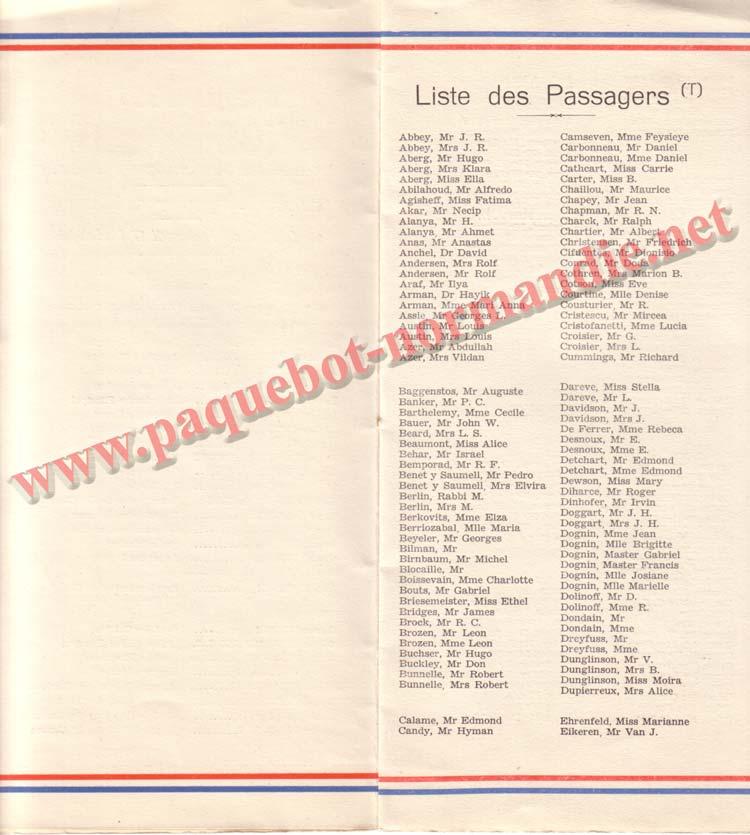 PAQUEBOT NORMANDIE - LISTE DES PASSAGERS DU 17 MAI 1939 - 2ème CLASSE / 2-4