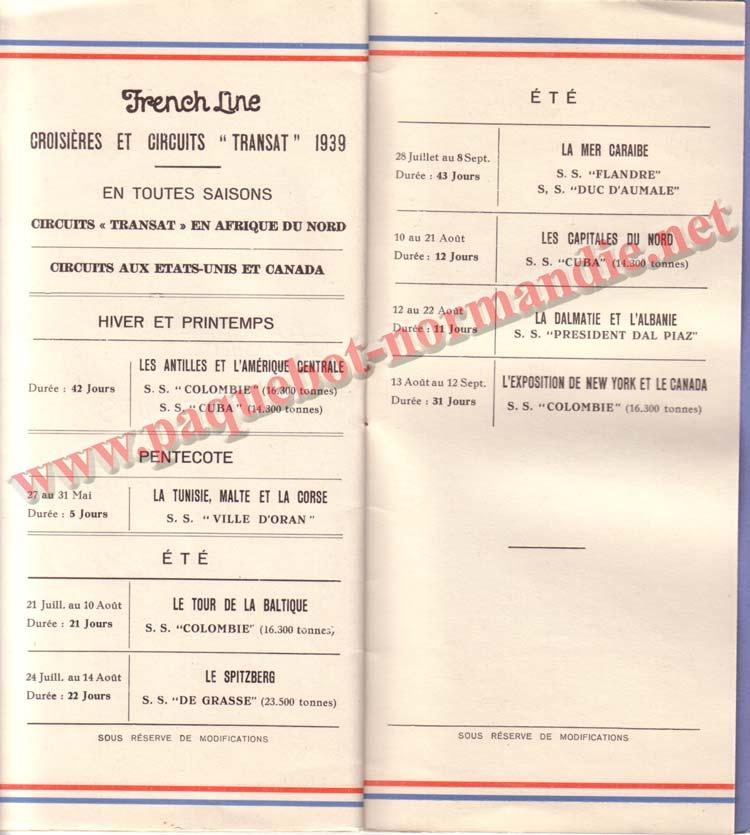 PAQUEBOT NORMANDIE - LISTE DES PASSAGERS DU 17 MAI 1939 - 2ème CLASSE / 2-8
