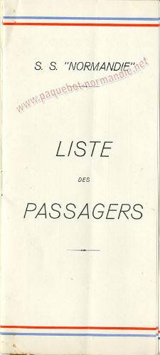 S.S NORMANDIE - LISTE PASSAGERS DU 17 AOUT 1938 - 3ème CLASSE / 3-1