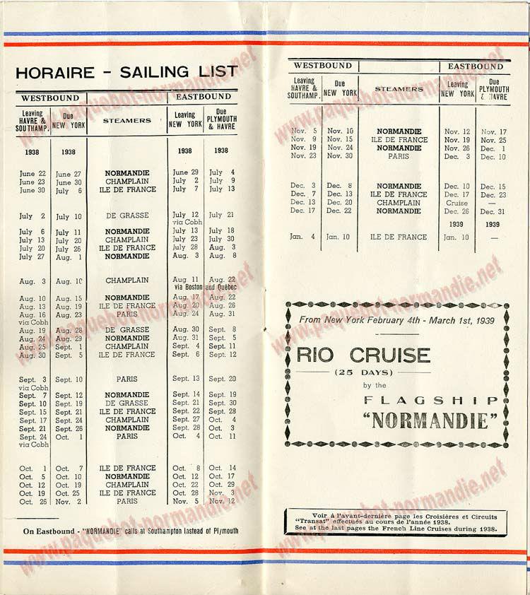 S.S NORMANDIE - LISTE PASSAGERS DU 17 AOUT 1938 - 3ème CLASSE / 3-2