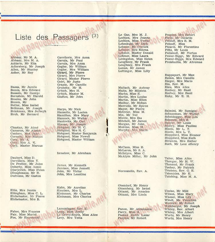 S.S NORMANDIE - LISTE PASSAGERS DU 17 AOUT 1938 - 3ème CLASSE / 3-4