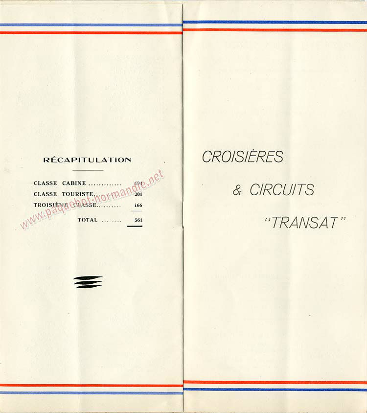 S.S NORMANDIE - LISTE PASSAGERS DU 17 AOUT 1938 - 3ème CLASSE / 3-5