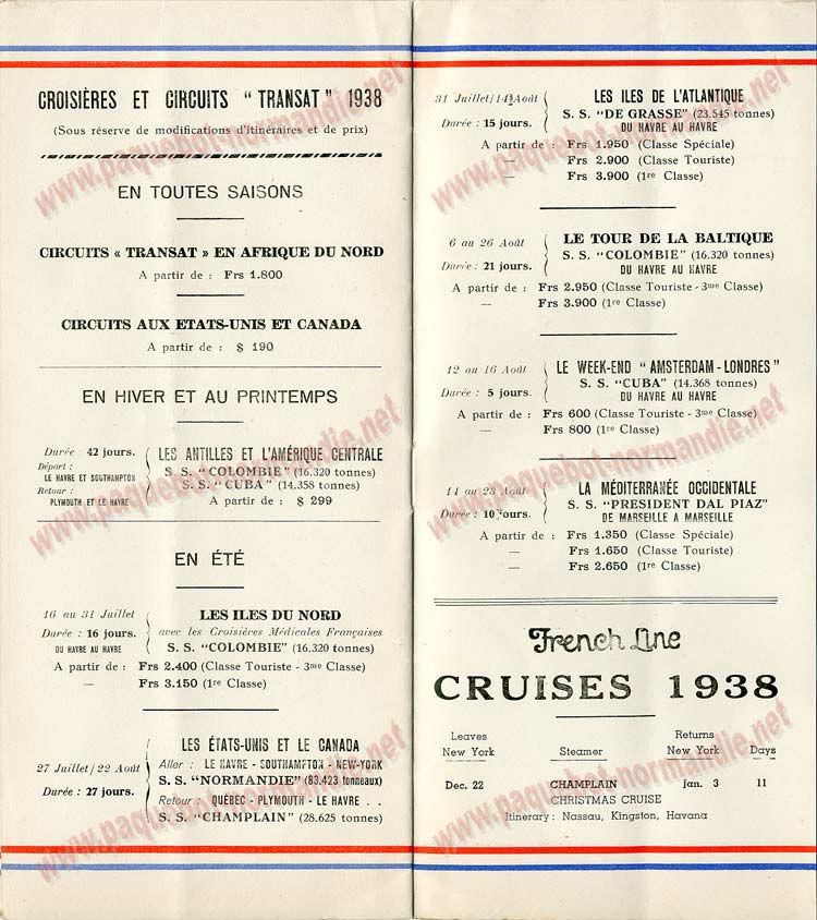 S.S NORMANDIE - LISTE PASSAGERS DU 17 AOUT 1938 - 3ème CLASSE / 3-6
