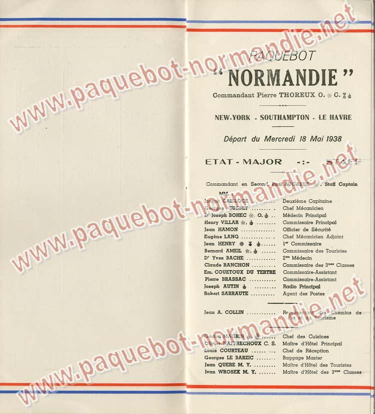 Paquebot s/s Normandie - LISTE PASSAGERS 18.05.38 / Classe Touriste - 3