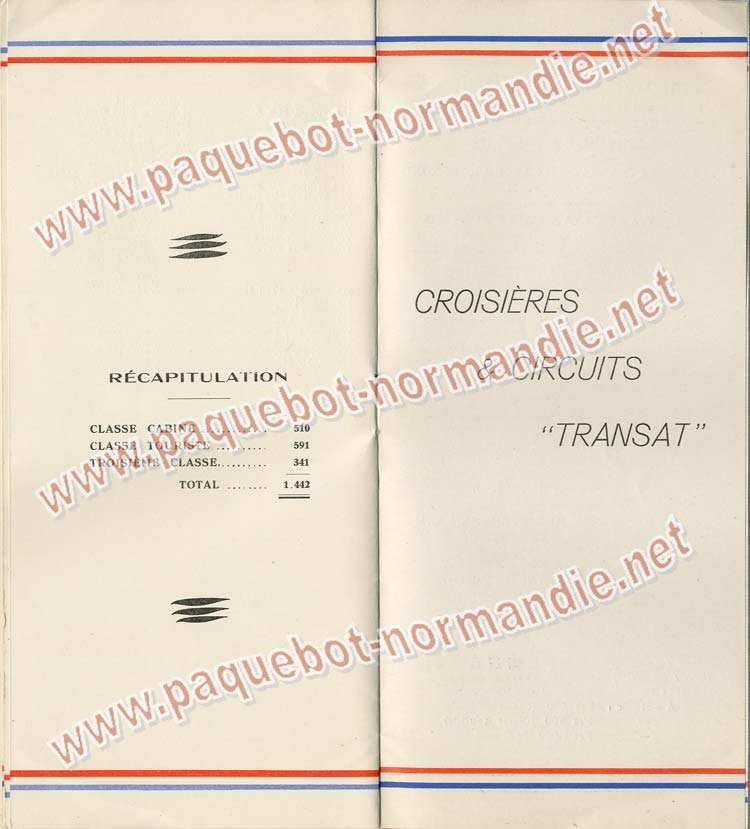Paquebot s/s Normandie - LISTE PASSAGERS 18.05.38 / Classe Touriste - 7