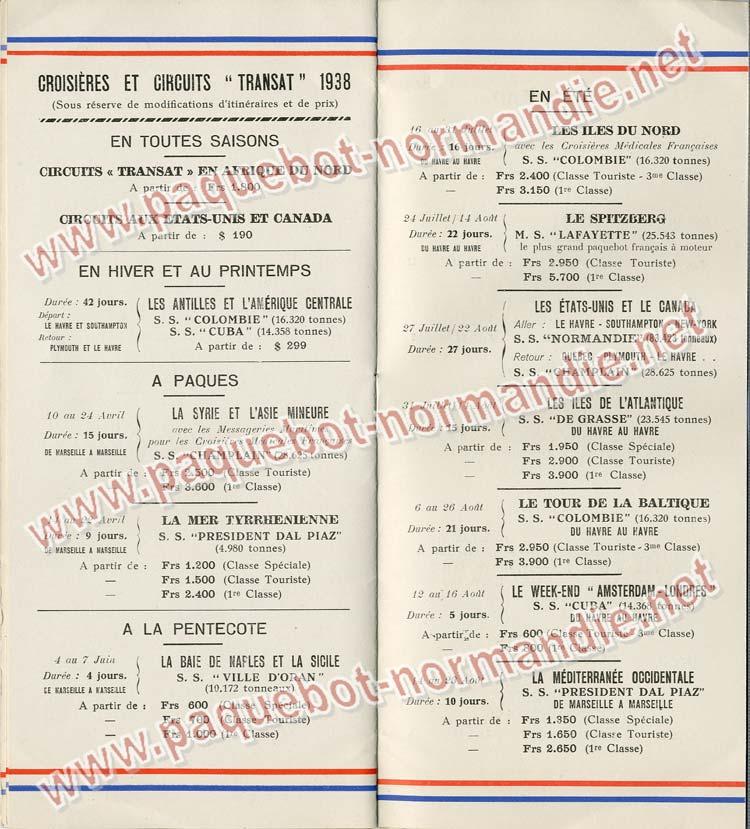 Paquebot s/s Normandie - LISTE PASSAGERS 18.05.38 / Classe Touriste - 8