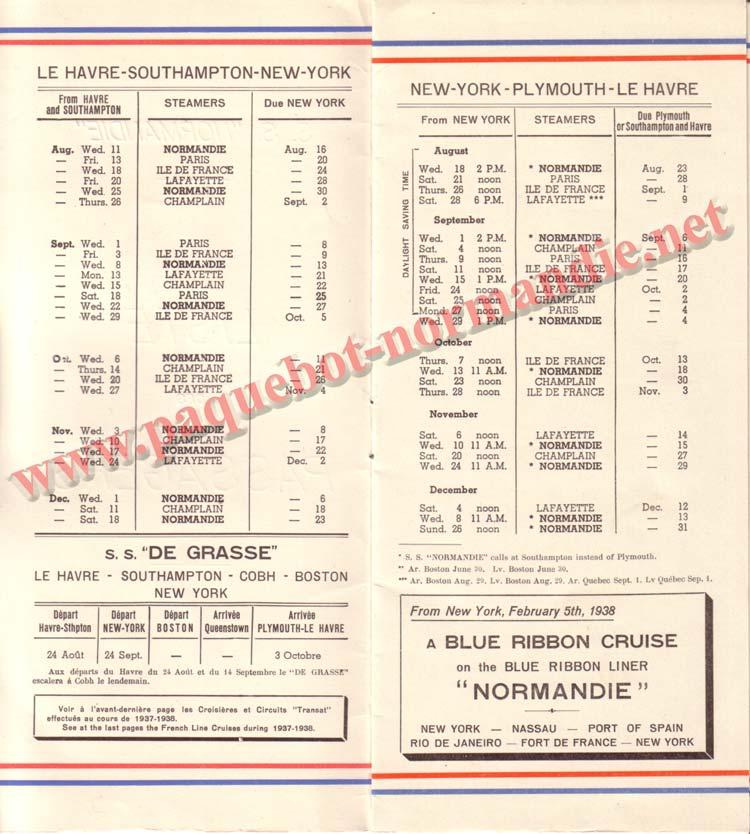 PAQUEBOT NORMANDIE - LISTE DES PASSAGERS DU 18 AOUT 1937 - 1ère CLASSE / 1-2