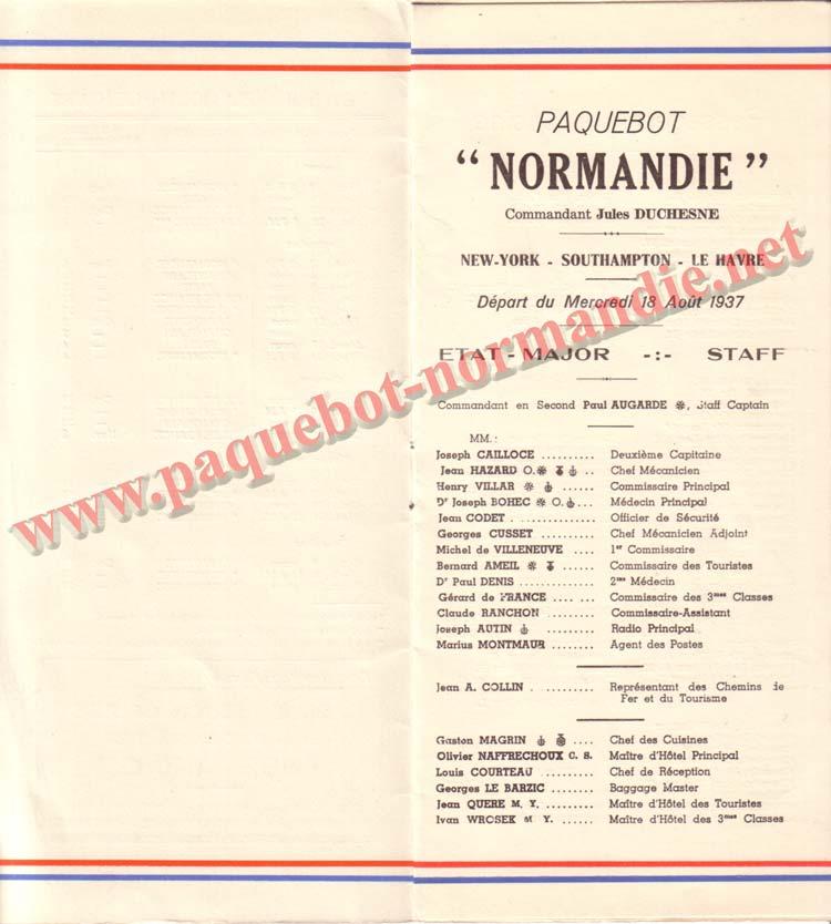 PAQUEBOT NORMANDIE - LISTE DES PASSAGERS DU 18 AOUT 1937 - 1ère CLASSE / 1-3
