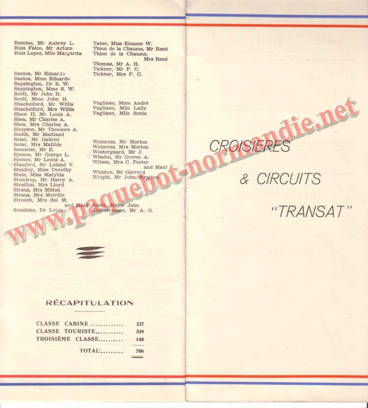 PAQUEBOT NORMANDIE - LISTE DES PASSAGERS DU 18 AOUT 1937 - 1ère CLASSE / 1-5