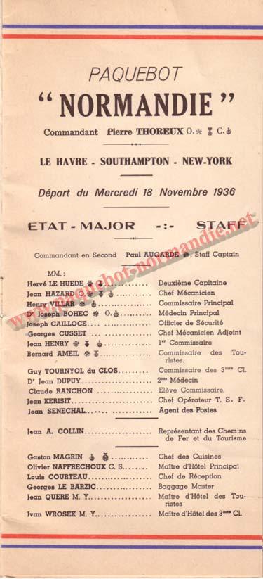 LISTE PASSAGERS DU 18 NOVEMBRE 1936 - 1ère CLASSE / 1-1