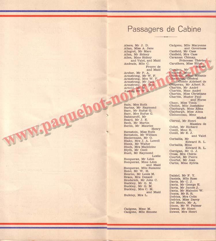 LISTE PASSAGERS DU 18 NOVEMBRE 1936 - 1ère CLASSE / 1-2