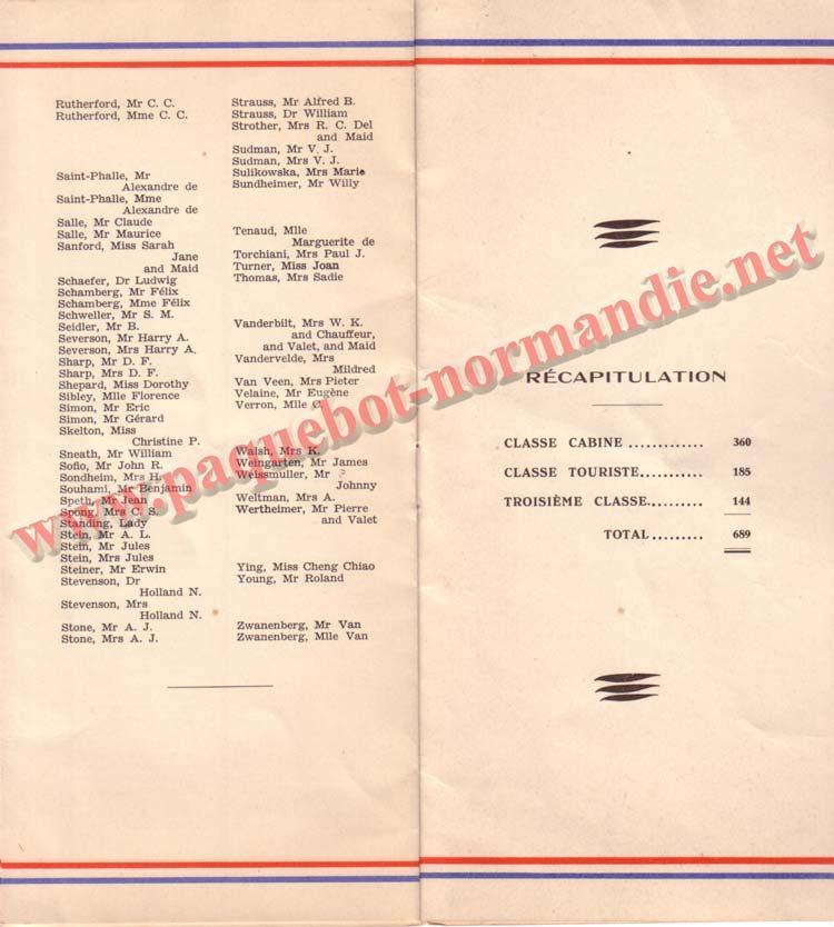 LISTE PASSAGERS DU 18 NOVEMBRE 1936 - 1ère CLASSE / 1-4