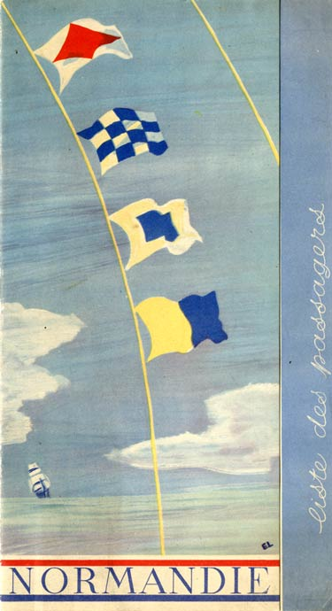 S.S. NORMANDIE - LISTE DES PASSAGERS 18 NOVEMBRE 1936 - 2ème CLASSE 2-1