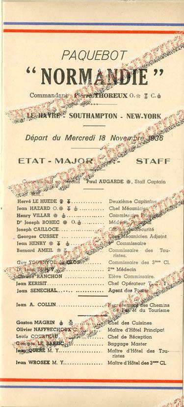 S.S. NORMANDIE - LISTE DES PASSAGERS 18 NOVEMBRE 1936 - 2ème CLASSE 2-2