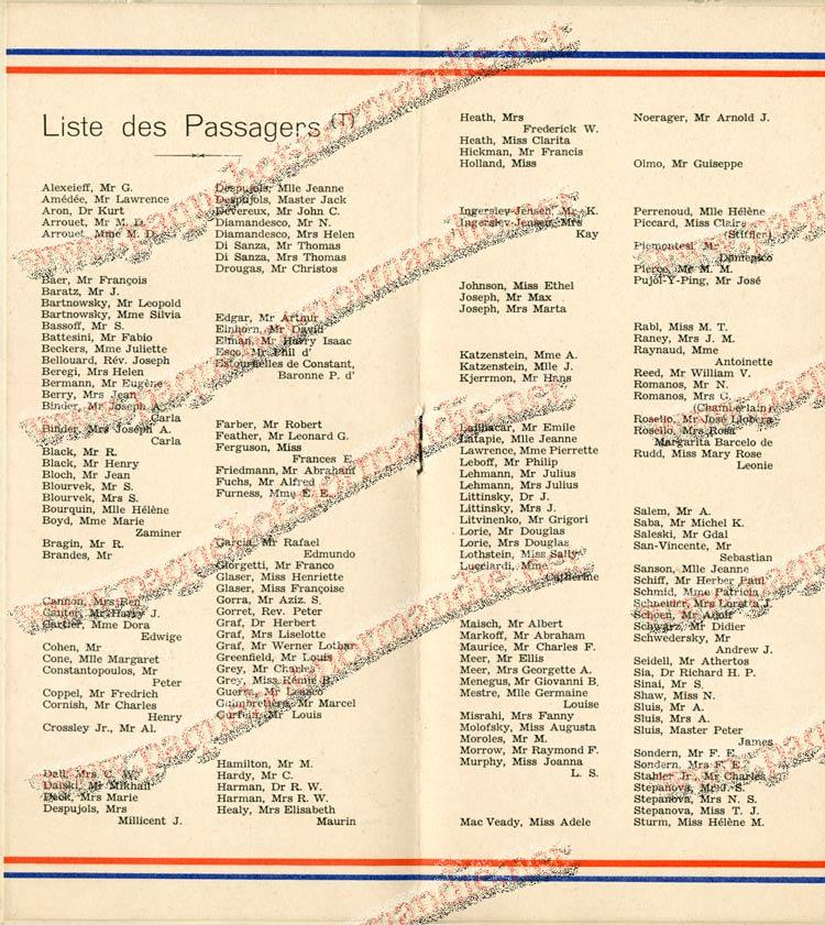 S.S. NORMANDIE - LISTE DES PASSAGERS 18 NOVEMBRE 1936 - 2ème CLASSE 2-3