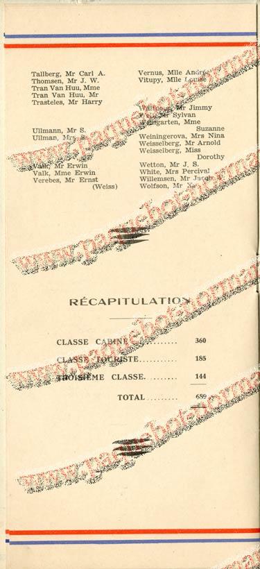 S.S. NORMANDIE - LISTE DES PASSAGERS 18 NOVEMBRE 1936 - 2ème CLASSE 2-4